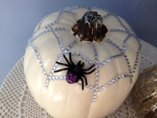 spider web pumpkin closeup